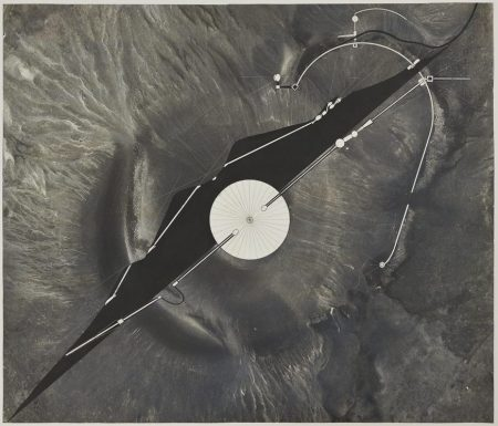 James Turrell: Site Plan with Elevation (Roden Crater), 1988. Photographic emulsion, India ink and pencil on Mylar. Photo Source: Archdaily