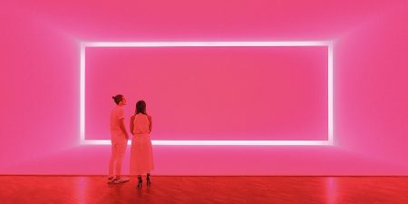 James Turrell 'Raemar pink white' 1969 'Shallow space construction': fluorescent light 440 x 1070 x 300 cm Kayne Griffin Corcoran, Los Angeles, California Image: National Gallery of Australia