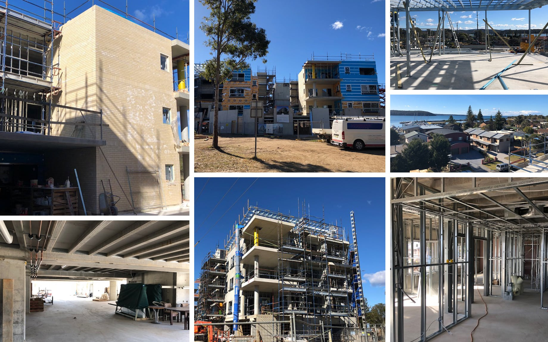 A mosaic of multiple images, showing the progress on the construction of the golf links drive apartments and the views of the bay